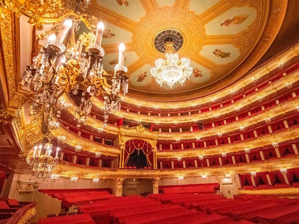 Interior of Moscow's Bolshoi theatre, photographed in May 2020 (AFP via Getty Images)
