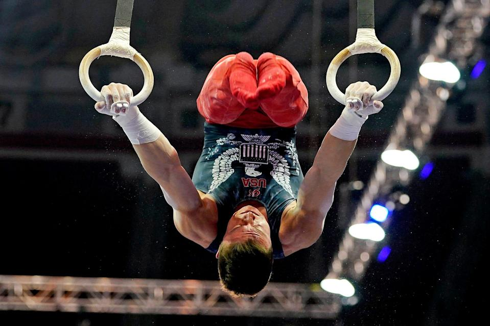 Brody Malone competes on the rings during the U.S. Olympic Team Trials at The Dome at America's Center.