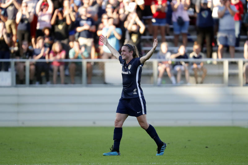 North Carolina Courage's Heather O'Reilly (17), center, leaves the filed during the second half of the NWSL championship soccer game against the Chicago Red Stars in Cary, N.C., Sunday, Oct. 27, 2019. (AP Photo/Karl B DeBlaker)