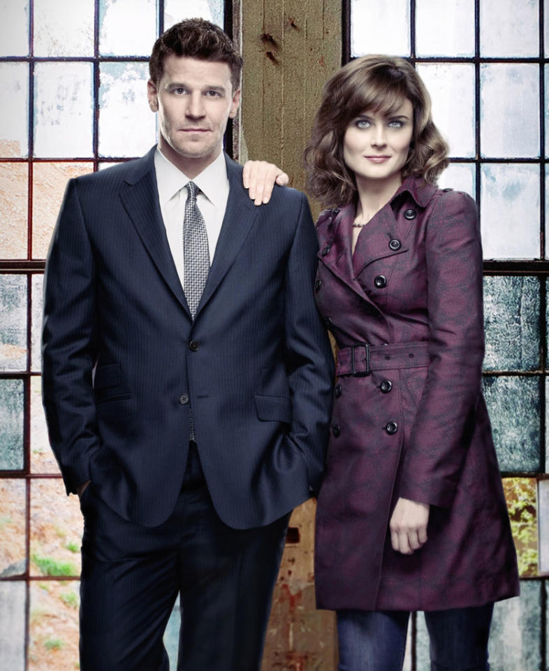 "David Boreanaz and Emily Deschanel in Season 8 of ""Bones."""