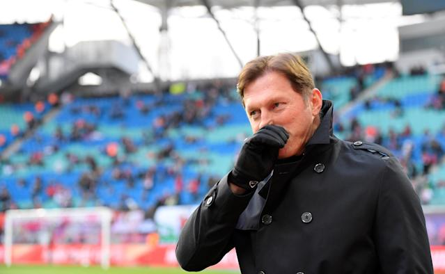 Soccer Football - Bundesliga - RB Leipzig vs Bayern Munich - Red Bull Arena, Leipzig, Germany - March 18, 2018 RB Leipzig coach Ralph Hasenhuettl before the match REUTERS/Matthias Rietschel DFL RULES TO LIMIT THE ONLINE USAGE DURING MATCH TIME TO 15 PICTURES PER GAME. IMAGE SEQUENCES TO SIMULATE VIDEO IS NOT ALLOWED AT ANY TIME. FOR FURTHER QUERIES PLEASE CONTACT DFL DIRECTLY AT + 49 69 650050