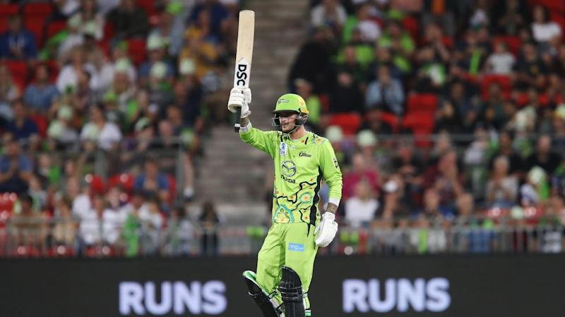 Alex Hales' quickfire 55 has led the Sydney Thunder to a four-wicket BBL win at home over Hobart