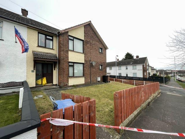 The scene at a residential property in Derrycoole Way, Newtownabbey, after police launched a murder investigation