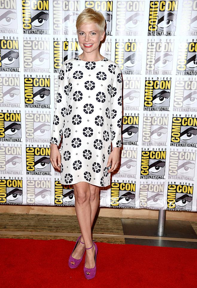 "Another one of our favorite Comic-Con ensembles was delivered by three-time Oscar nominee Michelle Williams (<a target=""_blank"" href=""http://movies.yahoo.com/movie/take-this-waltz/"">""Take This Waltz""</a>), who hit the red carpet in this '60s-inspired Giulietta dress and fuchsia Giuseppe Zanotti footwear. (7/13/2012)"