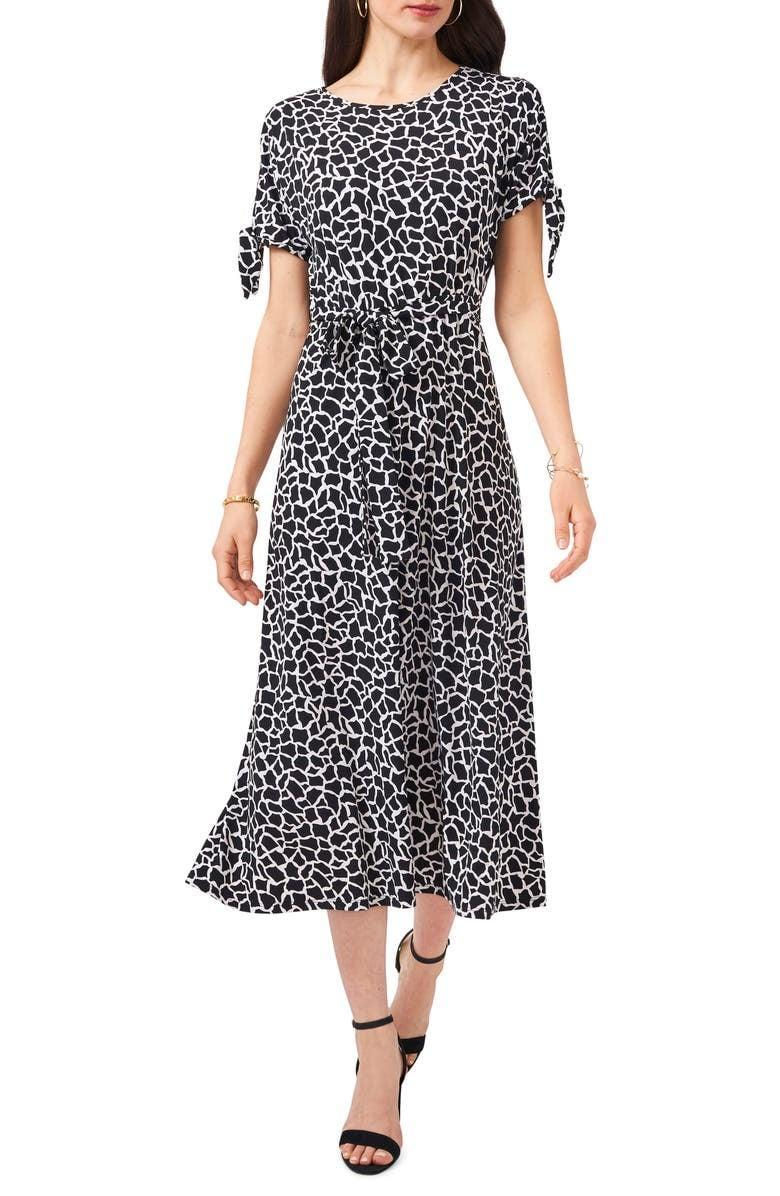 <p>You can define a waist with this <span>Chaus Print Split Sleeve Midi Dress</span> ($99) or remove its belt entirely for something more flowy. </p>