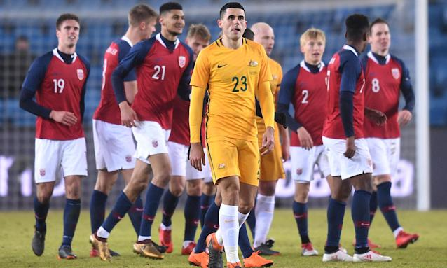 Tom Rogic looks on after the fourth goal went in during the match between Norway and Australia.