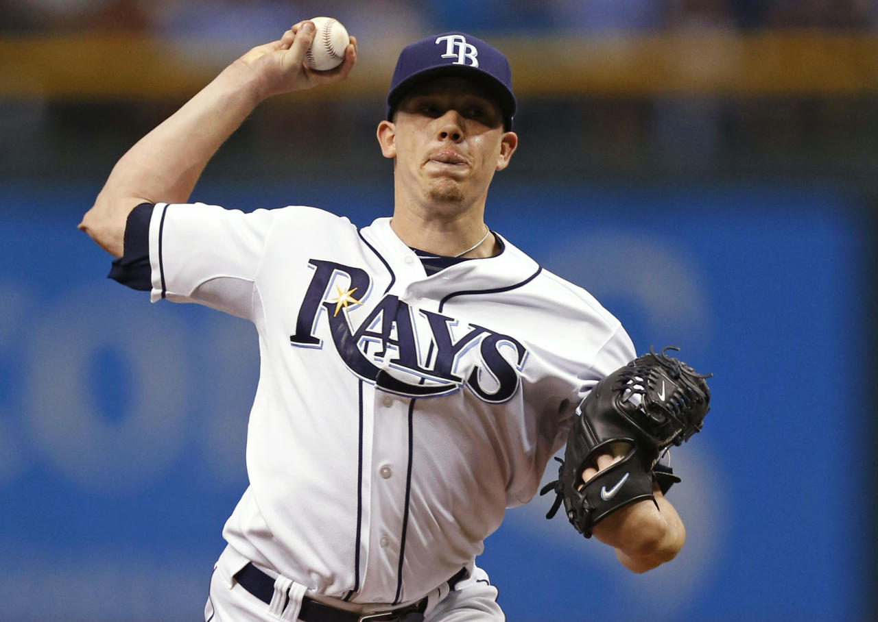 Tampa Bay Rays starting pitcher Jeremy Hellickson throws in the first inning in Game 4 of an American League baseball division series against the Boston Red Sox, Tuesday, Oct. 8, 2013, in St. Petersburg, Fla. (AP Photo/Mike Carlson)