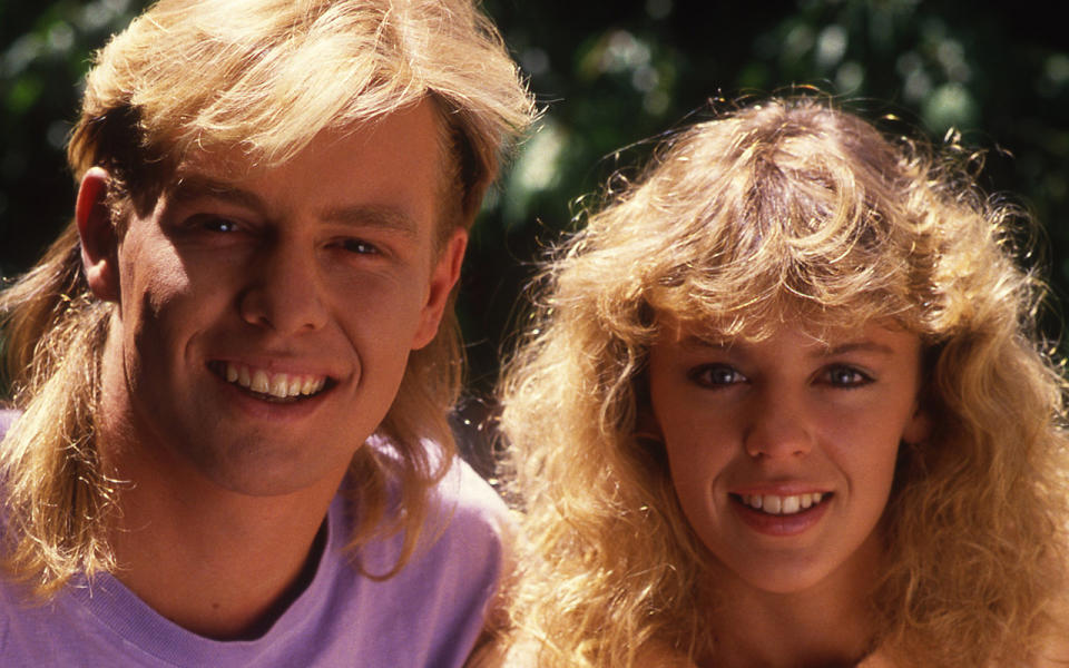 Kylie Minogue and Jason Donovan pictured together on the set of Neighbours. Source: Getty Images