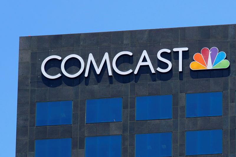 FILE PHOTO: The Comcast NBC logo is shown on a building in Los Angeles, California