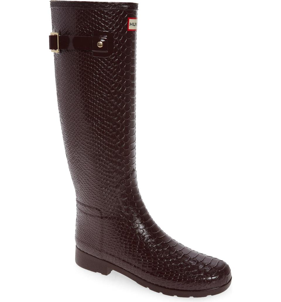 <p>Rainy days call for a pair of Hunter boots, and ideally stylish ones like this <span>Hunter Original Embossed Refined Tall Waterproof Rain Boot</span> ($185). The textured skin and color palette make it extremely wearable.</p>