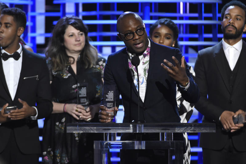 """Barry Jenkins accepts the Robert Altman award for """"Moonlight"""" at the Film Independent Spirit Awards on Saturday, Feb. 25, 2017, in Santa Monica, Calif. (Photo by Chris Pizzello/Invision/AP)"""