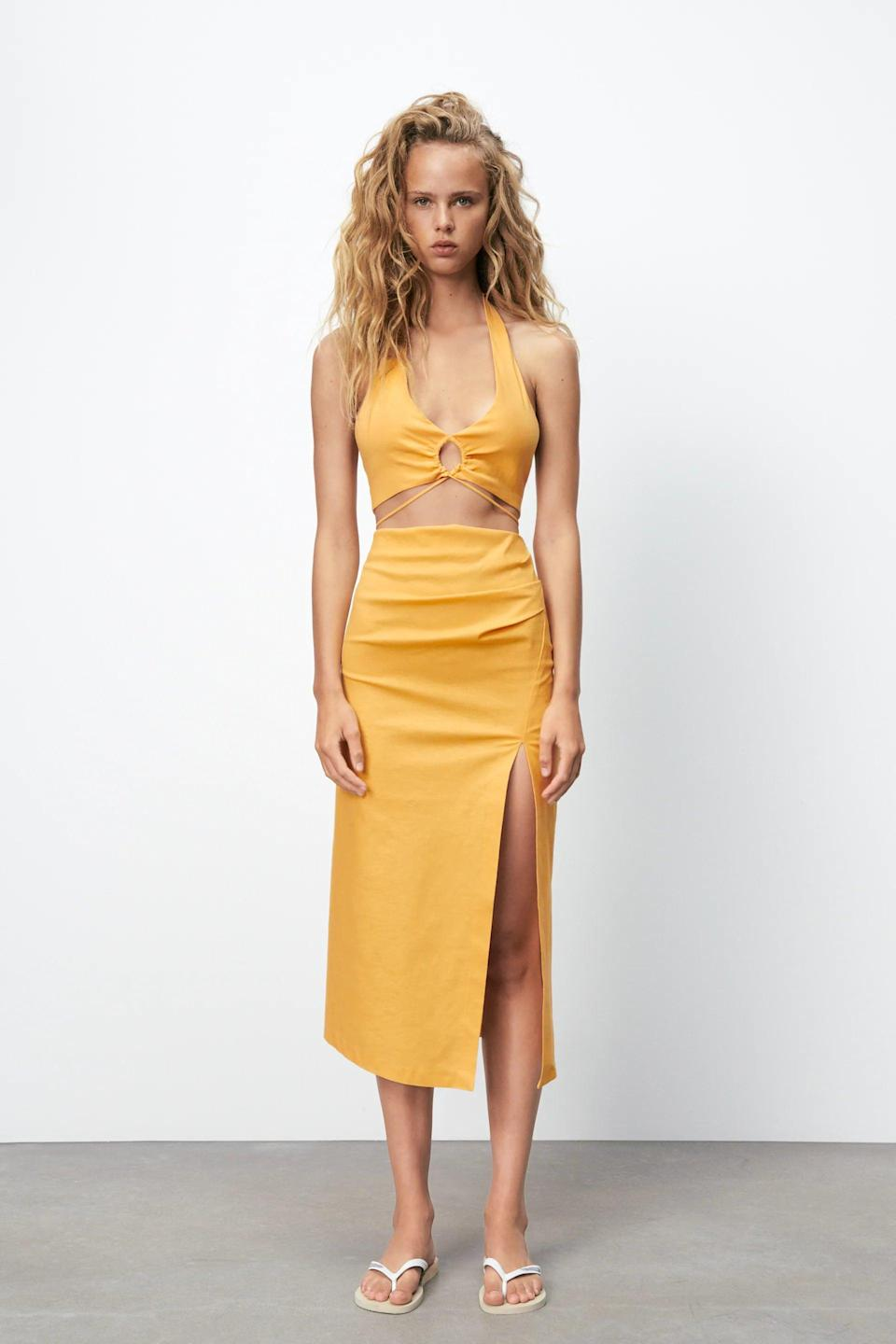 <p>When we think of summer, we think of fun colors and sexy details. Basically, we think of this <span>Zara Linen Blend Crop Top</span> ($36) and <span>Linen Blend Skirt With Ruching</span> ($40).</p>
