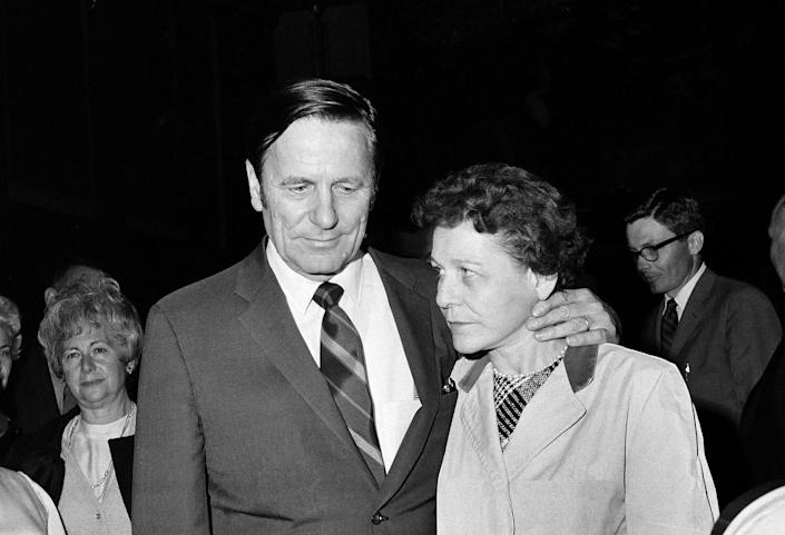 Joseph and Gwen Kopechne, parents of Mary Jo Kopechne, leave the Luzerne County Courthouse in Wilkes-Barre, Pa., Oct. 21, 1969, after the hearings ended on a petition to exhume the body of their daughter, who died in Sen. Edward M. Kennedy's car. (Photo: Paul Vathis/AP)