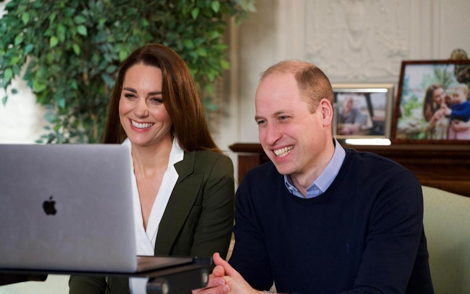 The Duke and Duchess of Cambridge during a video call to people with health conditions about the positive impact of the COVID-19 vaccine. - PA/Kensington Palace