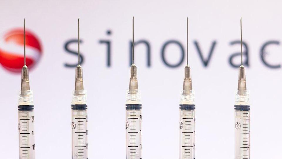 Various medical syringes seen with Sinovac Biotech company logo displayed on a screen in the background.
