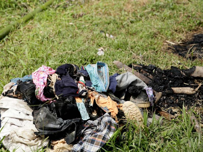 Burned clothes of people killed in a religious ritual in the jungle community of El Terron, Panama: AP