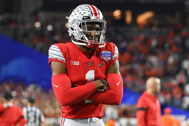 Ohio State CB Jeff Okudah likely will be the highest-drafted defensive back in the 2020 NFL draft. (Photo by Brian Rothmuller/Icon Sportswire via Getty Images)