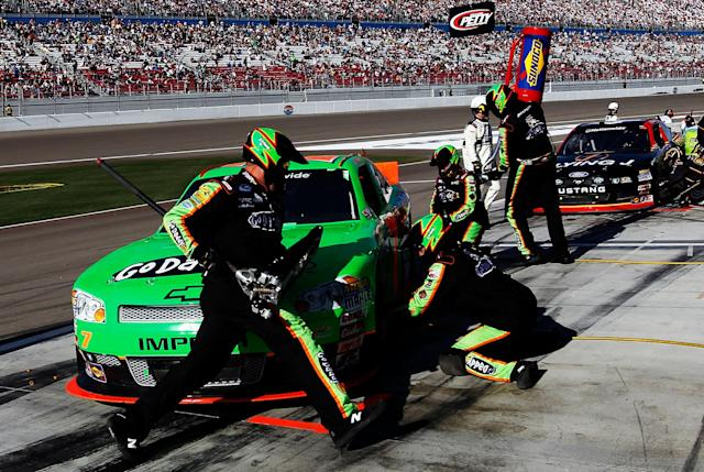 LAS VEGAS, NV - MARCH 10: Danica Patrick, driver of the #7 GoDaddy.com Chevrolet, pits during the NASCAR Nationwide Series Sam's Town 300 at Las Vegas Motor Speedway on March 10, 2012 in Las Vegas, Nevada. (Photo by Tom Pennington/Getty Images)