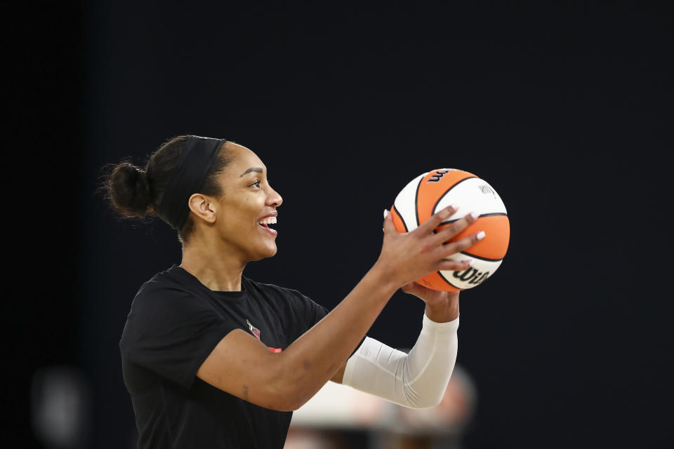Las Vergas Aces star A'ja Wilson and Mountain Dew are teaming up to launch limited edition swag. (Photo by Meg Oliphant/Getty Images)