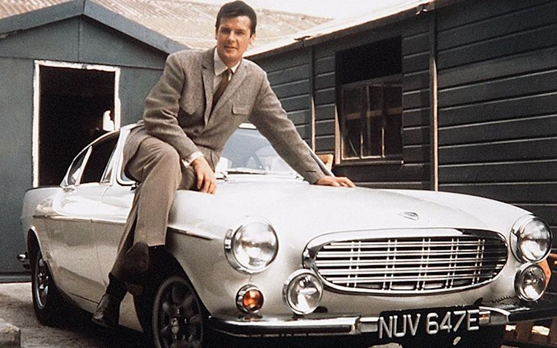 'The Saint' TV - 1960's - Roger Moore and Volvo P1800 Coupe - REX/ITV