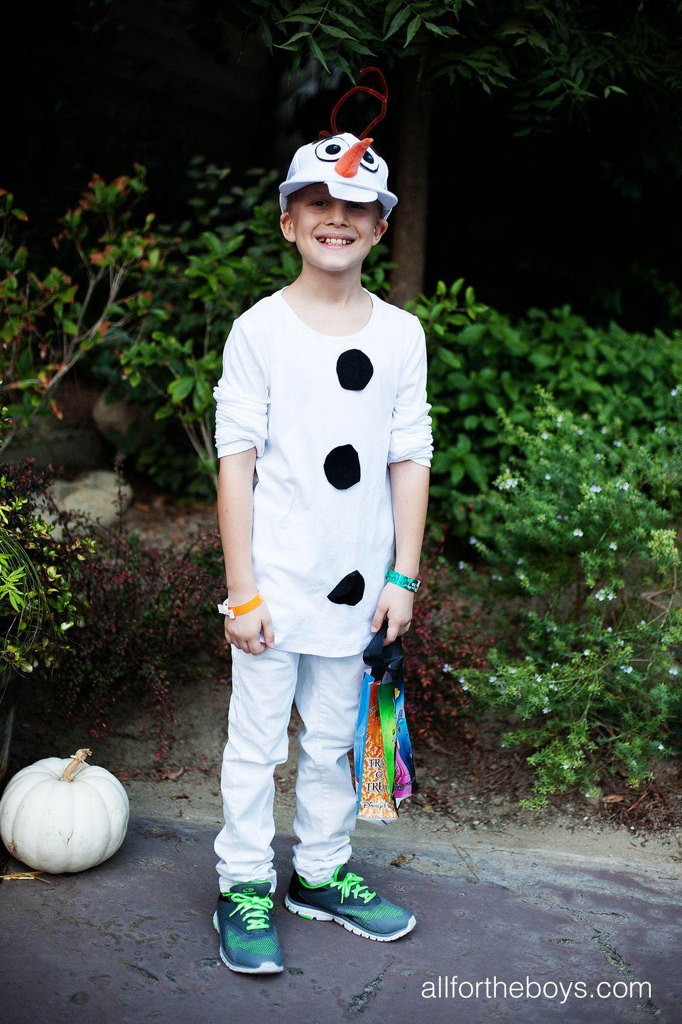 """<p>Your son likely already has the majority of this <em>Frozen</em> costume hanging in his closet. All you need to do is add a few embellishments, and he's ready to trick-or-treat.</p><p><strong>Get the tutorial at <a href=""""https://allfortheboys.com/diy-kids-olaf-costume/"""" rel=""""nofollow noopener"""" target=""""_blank"""" data-ylk=""""slk:All for the Boys"""" class=""""link rapid-noclick-resp"""">All for the Boys</a>.</strong> </p>"""