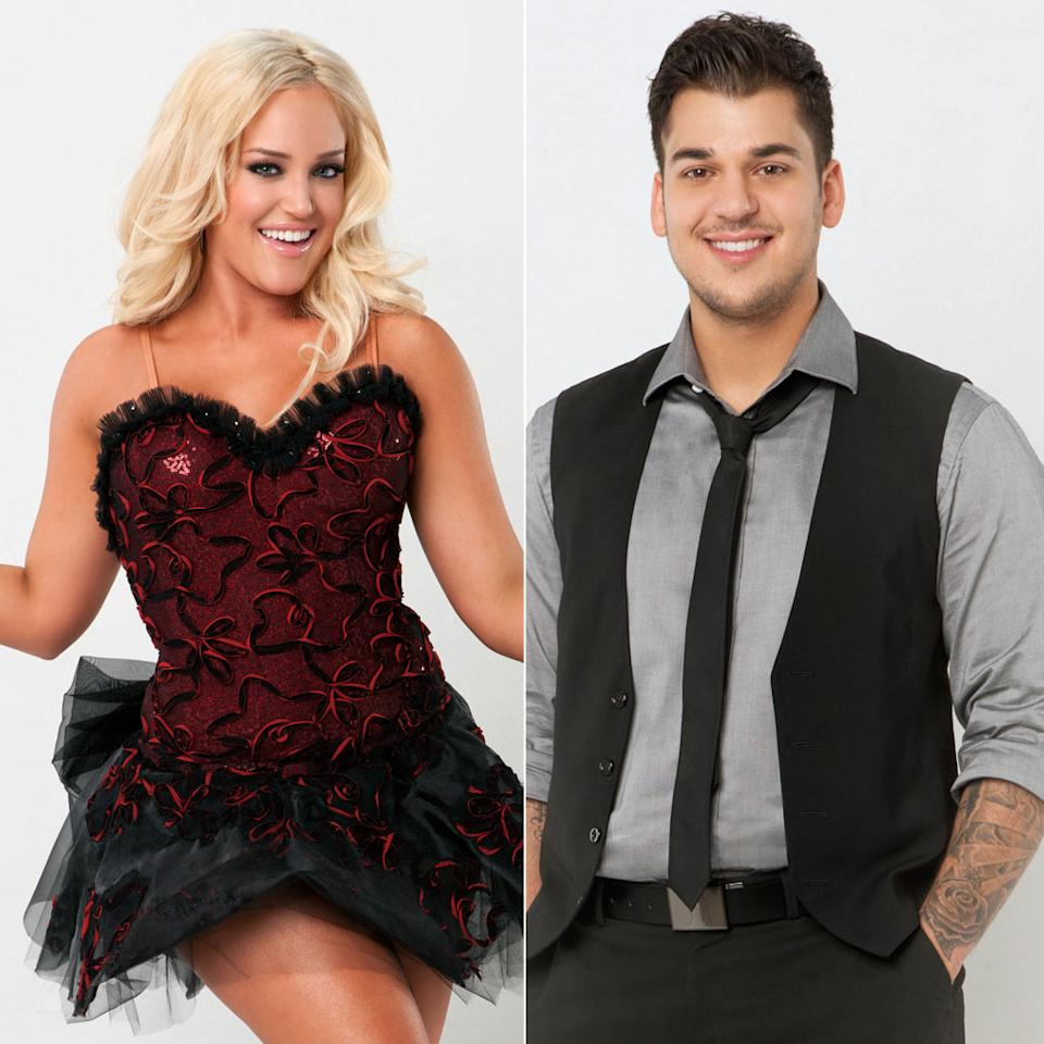 """<b>Rob Kardashian & Lacey Schwimmer</b><br>Season 13<br><br>So far, this is a one-sided crush on Rob's part, but you never know. <a href=""""http://ryanseacrest.com/2011/09/19/dwts-contestant-rob-kardashian-confesses-hed-make-out-with-lacey-schwimmer-audio/"""">Ryan Seacrest</a> asked Rob which lady he would make out with on the """"<a>DWTS</a>"""" set, and he said pro Lacey Schwimmer. """"She's supervulgar, superhilarious. She's like my personality but in a woman's body, and superflexible."""" According to <a href=""""http://www.dailymail.co.uk/tvshowbiz/article-2042906/How-Dancing-With-The-Stars-Lacey-Schwimmer-came-love-curves.html?ito=feeds-newsxml"""">The Daily Mail</a>, Lacey is currently in a relationship with D.J. Guthrie; if that's the case, perhaps they reconnected (they were supposedly an item eons ago) after Lacey's rumored Season 12 fling with her partner, radio star Mike Catherwood. But a Rob/Lacey romance is especially unlikely in the wake of Rob selling out his fellow castmates, <a href=""""http://www.radaronline.com/exclusives/2011/09/rob-kardashian-claims-celebs-stars-and-partners-hooking-dancing-with-stars"""">telling Mojo in the Morning</a>, """"I know some of the couples on the show, some of the celebrities that are married, that are ... and some professionals that are married ... that are having an affair with their partner."""" Rob issued <a href=""""http://www.twitlonger.com/show/dcb64m"""">a vague half-denial on Twitter</a>, but still, it's unlikely he'll be attached to any of the """"DWTS"""" ladies this season."""