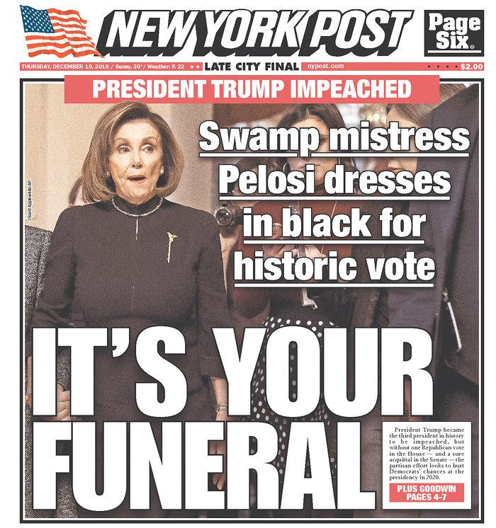 The front page of Thursday's New York Post. (Newseum.org)