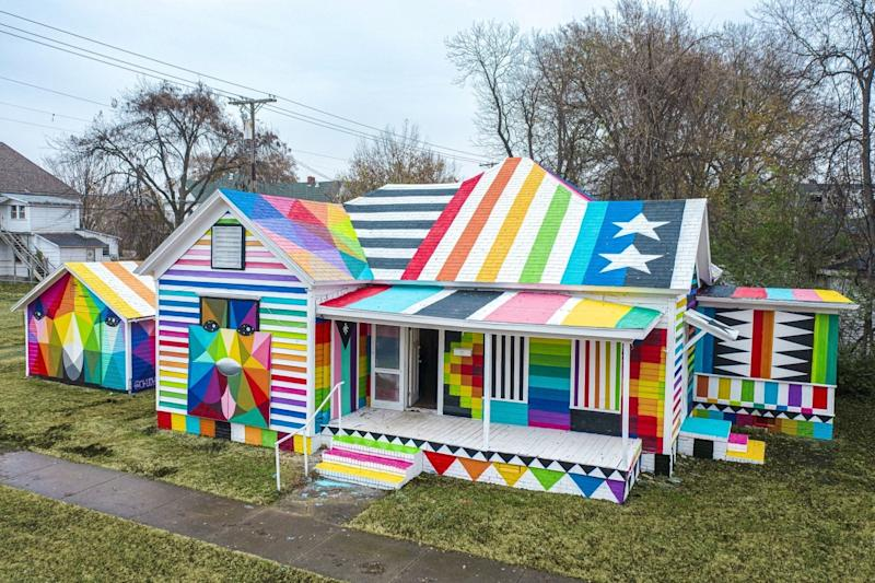 The ultra-colorful exterior of Okuda San Miguel's transformed
