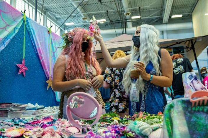 Vendors sold everything from full tails to accessories to decorate and finish a mermaids's look, including headpieces, necklaces, rings and clothing