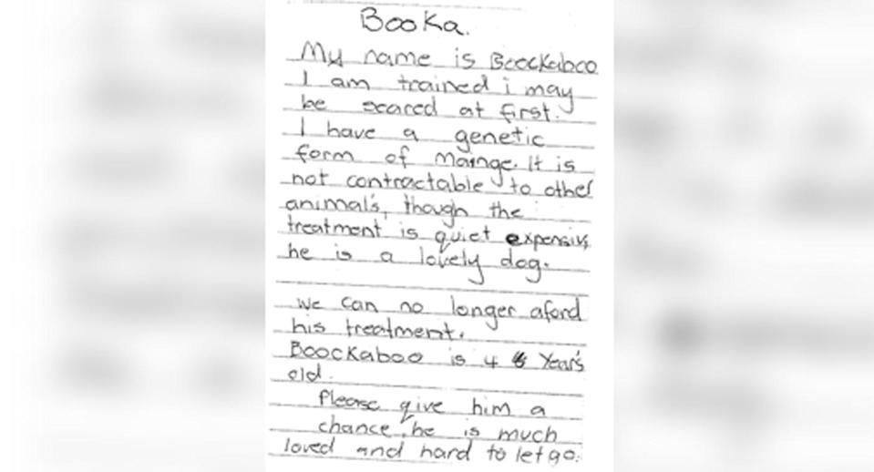 The letter says that the family can no longer afford to treat his mange, which is a treatable skin condition caused by mites. Source: RSPCA NSW