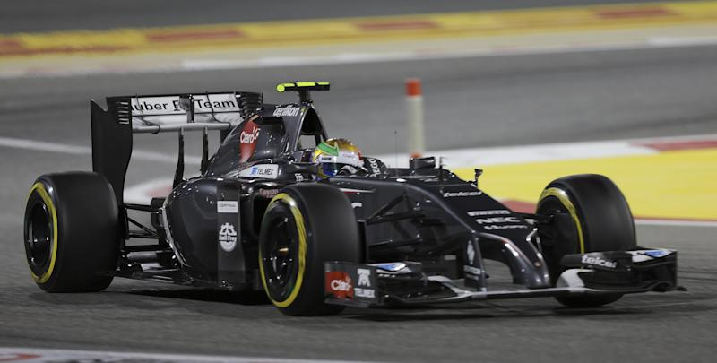 Sauber driver Esteban Gutierrez of Mexico steers his car during the qualifying session at the Formula One Bahrain International Circuit in Sakhir, Bahrain, Saturday, April 5, 2014. The Bahrain Formula One Grand Prix will take place here on Sunday