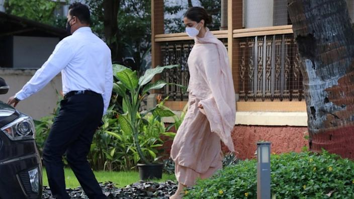 Bollywood actress Deepika Padukone leaves a guesthouse after she was questioned by Narcotics Control Bureau (NCB) officials