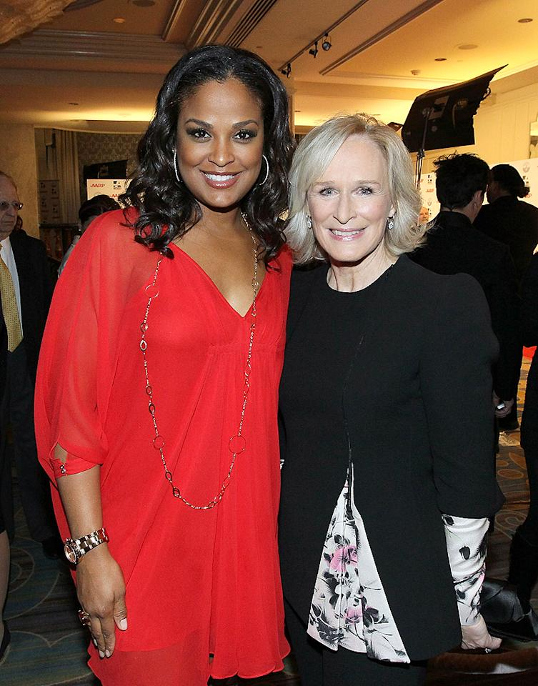 "Glenn Close -- who took home the evening's Best Actress award for her gender-bending role in the acclaimed film ""Albert Nobbs"" -- chatted with pro boxer Laila Ali. The ladies chose not to copy Sharon and Kathy's pose during the ceremony, which took place at the Beverly Wilshire Four Seasons Hotel in Beverly Hills. (2/6/2012)"