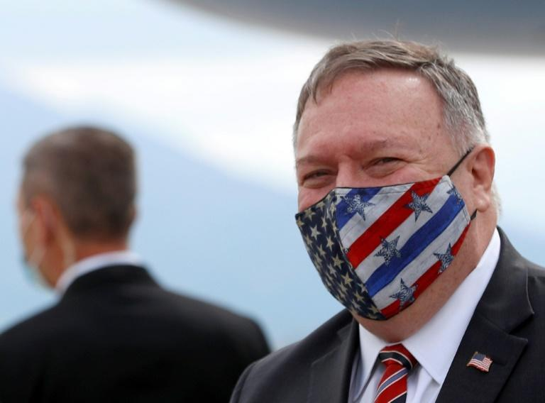 """US Secretary of State Mike Pompeo, seen here in October 2020, has insisted that President Donald Trump will remain in power but promised a """"smooth transition"""""""