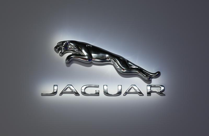 The logo of Jaguar is pictured during a media preview day at the Frankfurt Motor Show