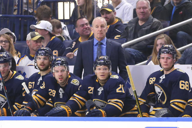 Buffalo Sabres Head Coach Ralph Krueger looks on during the second period of an NHL hockey game against the Winnipeg Jets, Sunday, Feb. 23, 2020, in Buffalo, N.Y. (AP Photo/Jeffrey T. Barnes)