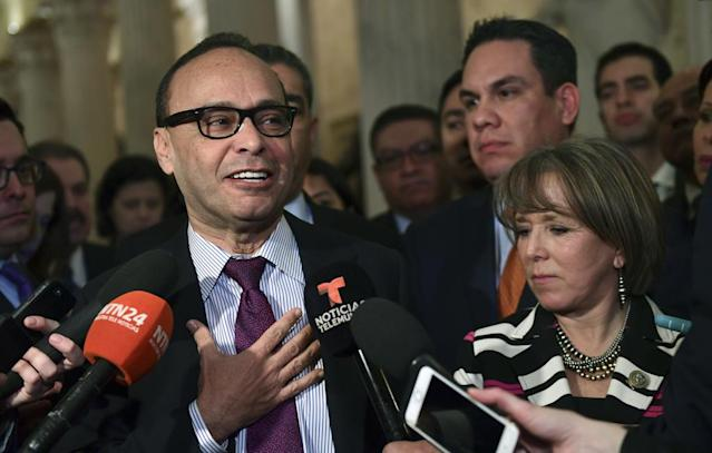 Members of the Congressional Hispanic Caucus Rep. Luis Gutierrez, D-Ill., left, Rep. Michelle Lujan Grisham, D-N.M., right, and Rep. Pete Aguilar, D-Calif., second from right, following a meeting with White House chief of staff John Kelly. (Photo: Susan Walsh/AP)