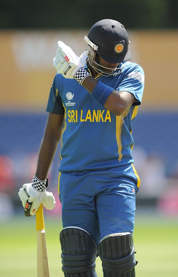 Sri Lanka captain Angelo Mathews looks dejected as he leaves the field of play after losing his wicket during the ICC Champions Trophy match at the SWALEC Stadium, Cardiff.