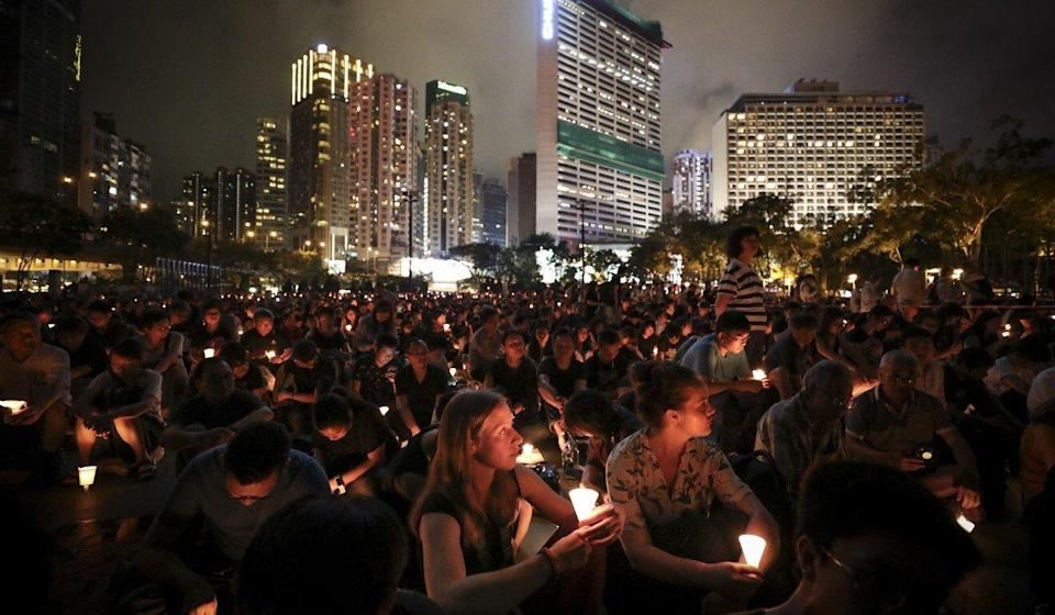 Hong Kong is the only part of China that faithfully has held large gatherings to mark the anniversary. Photo: James Wendlinger