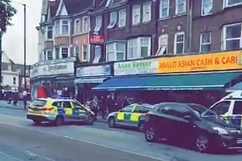 Knife attack: The victim stumbled into a nearby shop (Twitter/@BoRichA305)