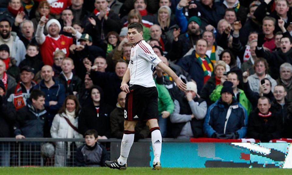Manchester United fans jeer Steven Gerrard after the Liverpool captain was sent off in 2011