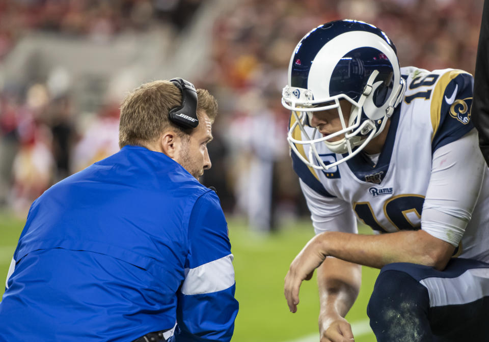 Los Angeles Rams quarterback Jared Goff and coach Sean McVay are entering a big season. (Photo by Douglas Stringer/Icon Sportswire via Getty Images)