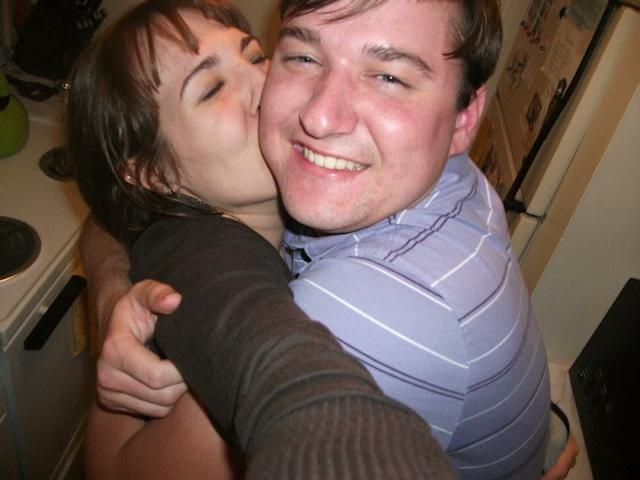 My husband and I got married at the young ages of 21 and 23. We were so young, so stupid, so broke and so very in love. This is us in our tiny first kitchen, barely any room for one person, where we would sit and eat and talk late into the night. This picture captures how happy we were with so little to our name. --<i>Melanie B.</i>