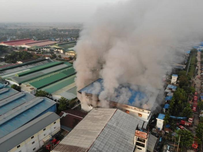 Fire at JOC Galaxy (Myanmar) Apparel Co. in Hlaing Thar Yar township