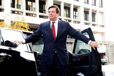 <p>FILE PHOTO: Paul Manafort, former campaign manager for U.S. President Donald Trump arrives for a bond hearing at U.S. District Court in Washington, U.S., November 6, 2017. REUTERS/Joshua Roberts </p>
