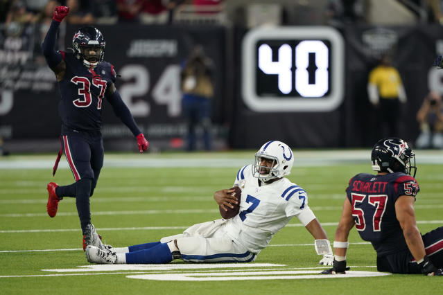 Indianapolis Colts quarterback Jacoby Brissett (7) is stopped short of a first down during the second half of an NFL football game against the Houston Texans Thursday, Nov. 21, 2019, in Houston. (AP Photo/David J. Phillip)