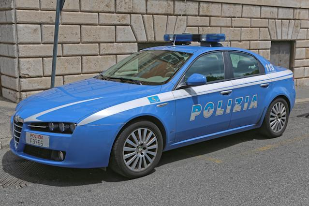 Rome, Italy - June 30, 2014: Italian Fast Police Car Alfa Romeo at Quirinale in Rome, Italy.