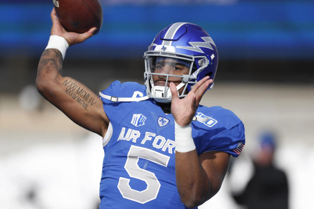 Air Force quarterback Donald Hammond III warms up before an NCAA college football game against Wyoming, Saturday, Nov. 30, 2019, at Air Force Academy, Colo. (AP Photo/David Zalubowski)