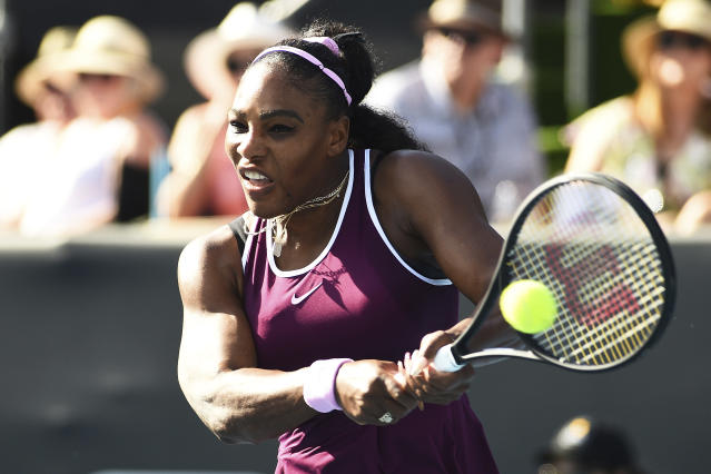United States' Serena Williams makes a return during her semifinal match against United States' Amanda Anisimova at the ASB Classic in Auckland, New Zealand, Saturday, Jan. 11, 2020. (Chris Symes/Photosport via AP)