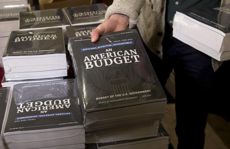 A Congressional staff member delivers copies of US President Donald Trump's Fiscal Year 2019 Government Budget: SAUL LOEB/AFP/Getty Images